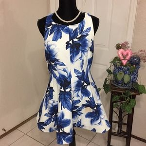 Keepsake Blue Floral Dress (size L)(B6)